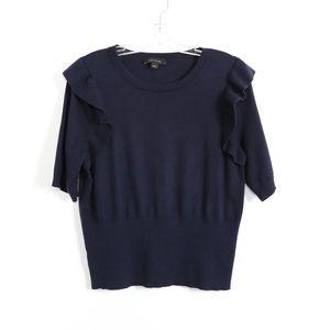 Ann Taylor knit stretch top ruffle dark navy blue